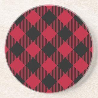 Red And Black Check Buffalo Plaid Pattern Coaster