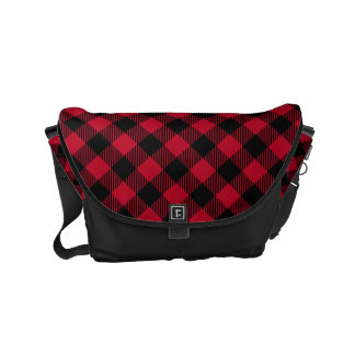 Red And Black Check Buffalo Plaid Pattern Commuter Bag