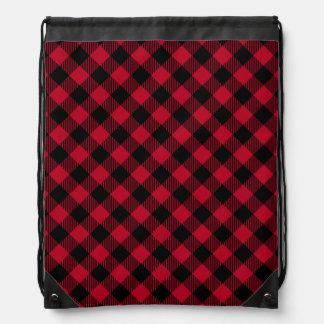 Red And Black Check Buffalo Plaid Pattern Drawstring Bag