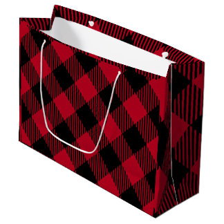 Red And Black Check Buffalo Plaid Pattern Large Gift Bag
