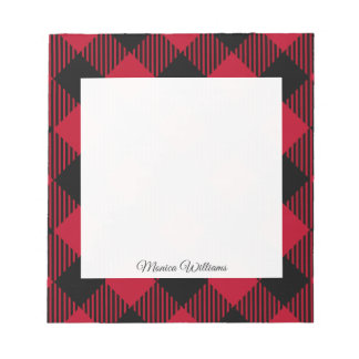 Red And Black Check Buffalo Plaid Pattern Notepad