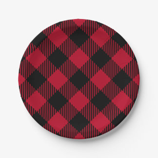 Red And Black Check Buffalo Plaid Pattern Paper Plate
