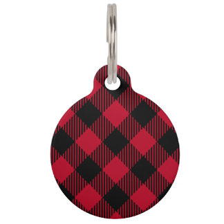 Red And Black Check Buffalo Plaid Pattern Pet ID Tag