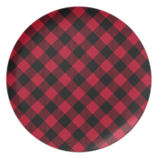 Red And Black Check Buffalo Plaid Pattern Plate