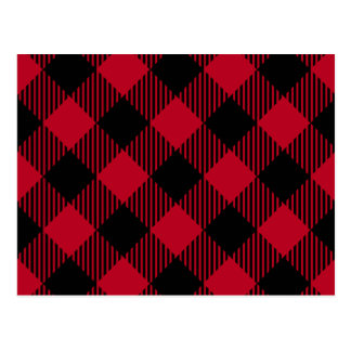 Red And Black Check Buffalo Plaid Pattern Postcard