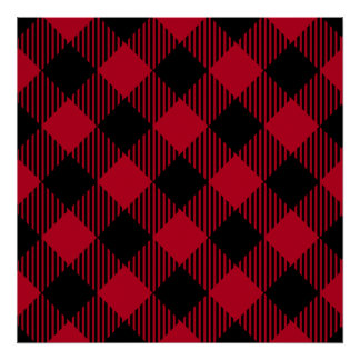 Red And Black Check Buffalo Plaid Pattern Poster