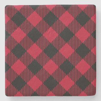 Red And Black Check Buffalo Plaid Pattern Stone Coaster