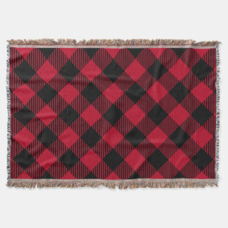 Red And Black Check Buffalo Plaid Pattern Throw Blanket