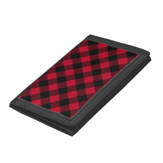 Red And Black Check Buffalo Plaid Pattern Tri-fold Wallet