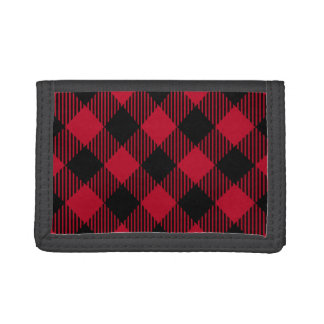 Red And Black Check Buffalo Plaid Pattern Trifold Wallet
