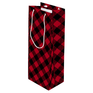 Red And Black Check Buffalo Plaid Pattern Wine Gift Bag