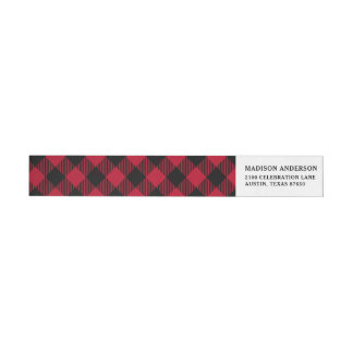 Red And Black Check Buffalo Plaid Pattern Wrap Around Label