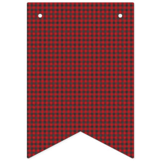 Red and Black Checkered Plaid. Bunting Flags