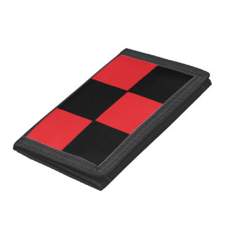 Red and Black Checkered Tri-fold Wallet