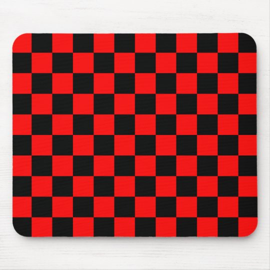 Red and Black Chequered Pattern Mouse Pad