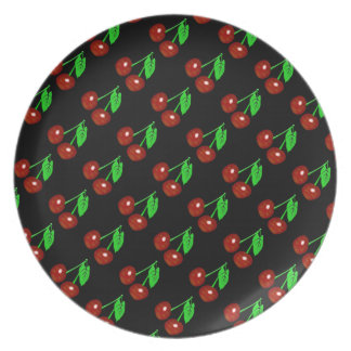 Red And Black Cherry Pattern Plates