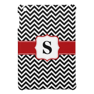 Red and Black Chevron Monogram Personalized Case For The iPad Mini