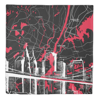 Red and Black City Map, New York Duvet Cover