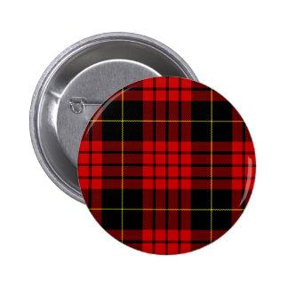 Red and Black Clan MacQueen Tartan 2 Inch Round Button