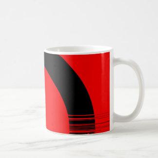red and black coffee mug