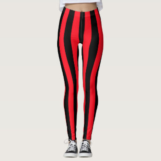 Red and Black Coloured striped pattern Leggings
