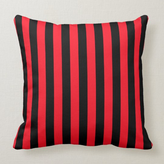Red and Black Coloured striped pattern Throw Pillow