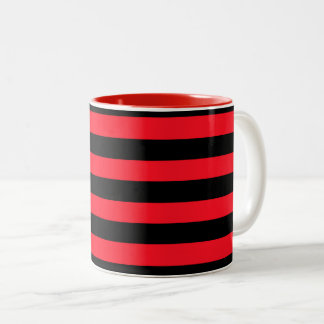 Red and Black Coloured striped pattern Two-Tone Coffee Mug