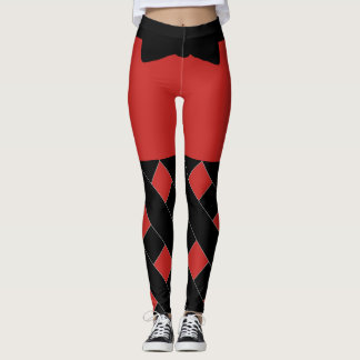 Red And Black Combination Leggings