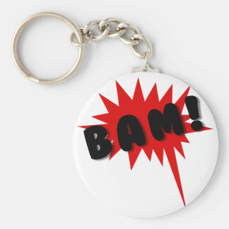 Red and black comics text and burst design BAM! Keychain