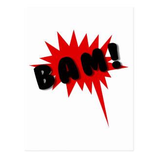 Red and black comics text and burst design BAM! Postcard