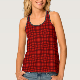 Red And Black Convex Illusion Pattern Tank Top