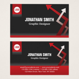 Red and Black corporate arrows Business Card