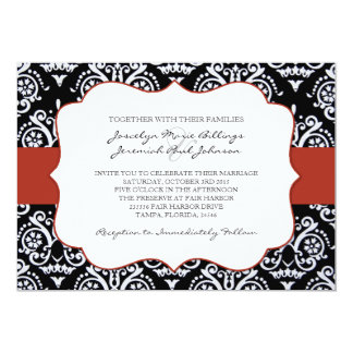 "Red and Black Country Damask Patterned 5"" X 7"" Invitation Card"