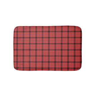 Red and Black Cute Plaid Tartan Pattern Bath Mat