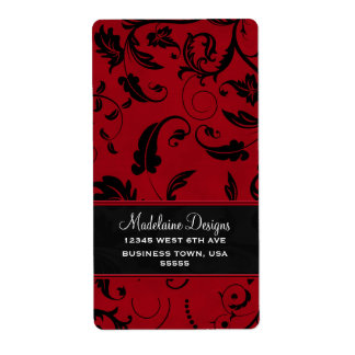 Red and Black Damask | Address Labels