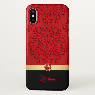 Red and Black Damask and Celtic Knot iPhone X Case
