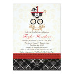 "RED AND BLACK DAMASK BABY CARRIAGE BABY SHOWER 5"" X 7"" INVITATION CARD"