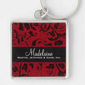 Red and Black Damask | Custom Business Silver-Colored Square Keychain