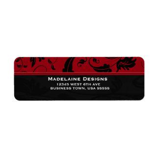 Red and Black Damask | Custom Business Return Address Label