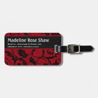 Red and Black Damask   Custom Travel Bag Tags