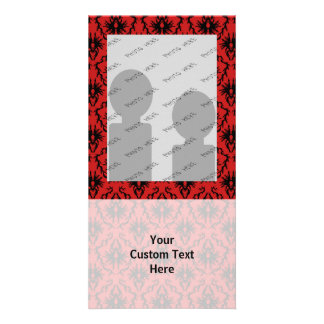 Red and Black Damask Design Photo Greeting Card