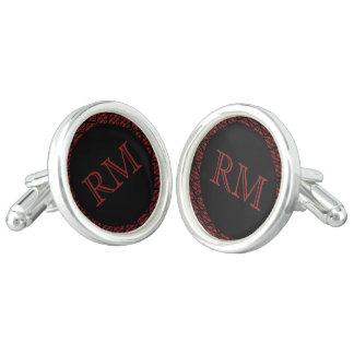 Red and Black Damask Monogram Wedding Cuff Links
