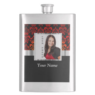 Red and black damask photo template hip flask