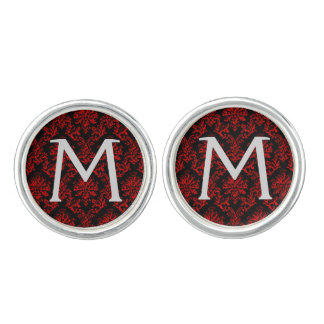 Red and Black Damask Print Cuff Links