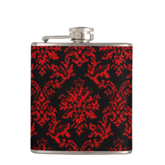 Red and Black Damask Print Hip Flask