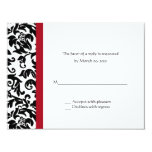 Red and Black Damask Wedding RSVP Cards Personalized Invitations