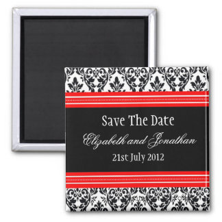 Red and Black Damask Wedding Save The Date Magnet