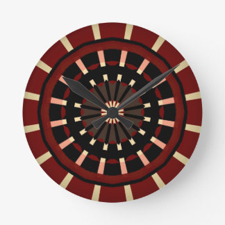 Red and Black Dart Board Inspired Design Round Clock
