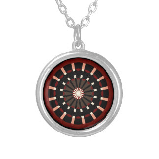 Red and Black Dart Board Inspired Design Silver Plated Necklace
