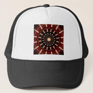Red and Black Dart Board Inspired Design Trucker Hat